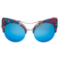 Floral Mirror Lens Cat Eye Sunglasses