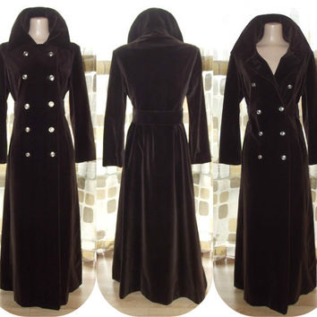 Vintage 70s Brown Velvet Opera Coat VICTORIAN Steampunk M/L Princess Cut Floor Length