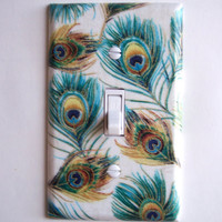 Peacock Feather Single Toggle Switchplate