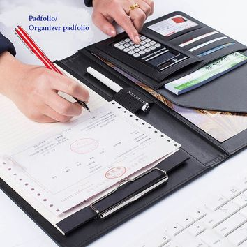 Business Notebook Multifunction with Money/Bill Cases PU Leather Padfolio with A4 Clipboard Memo Pad Office Organizer Folios