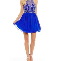 B. Darlin Racer Neckline Beaded Bodice Fit-And-Flare Dress | Dillards