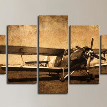 Biplane Vintage Airplane Canvas Wall Art Canvas Panel Print 5 Pcs Pieces Panels