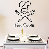 Wall Decal Vinyl Sticker Decals Chef Hat Bon Appetit Fork Spoon Cutlery Cafe Kitchen Decor Dining Room Interior Murals Window Decal AN741