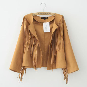 Autumn Strong Character Tassels Tops Jacket [8790851975]