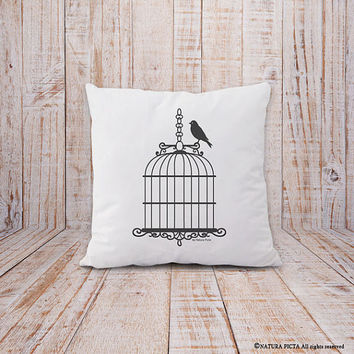 Birdcage pillow-birdcage cushion cover-french pillow-shabby chic pillow-housewarming gift-decorative pillow-home decor-NATURA PICTA-NPCP056
