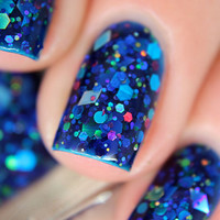 "Nail polish - ""Turbulence""  blue, lime, pink and silver glitter in a blue jelly base"