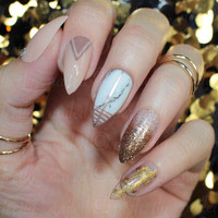 Nude and marble nails with foil accents