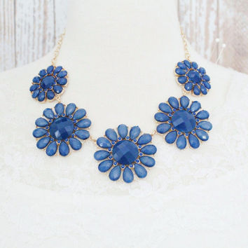Teal Color Flower Bib Necklace, Teal Statement Necklace, Bridal Teal Necklace, Bridesmaid Teal Necklace