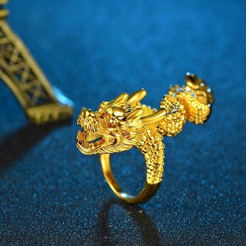 Men's Rings Gold Dragon Unique Adjustable Resizable Rings Personality Exaggerated Brass Gold Color Ring Fashion Men's Jewelry