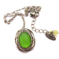Green Quartz Pendant Necklace, Oval Shape, Set in 925 Sterling Silver, Boho Chic, Hammered Silver, Large Gemstone Pendant, FREE SHIPPING