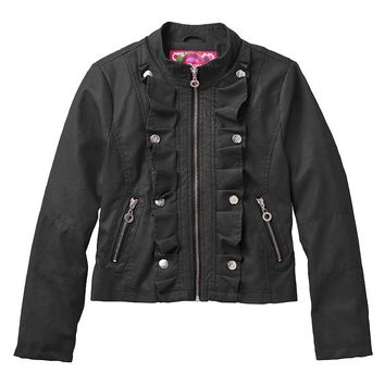 Dollhouse Faux Leather Ruffle Jacket - Girls