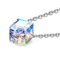 """Magic Cube""Square Pendant Necklace Angelady Jewelry Gifts,Made with Swarovski Aurora Borealis Crystal"
