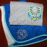 Women's monogrammed running gym shorts and matching faux pocket shirt