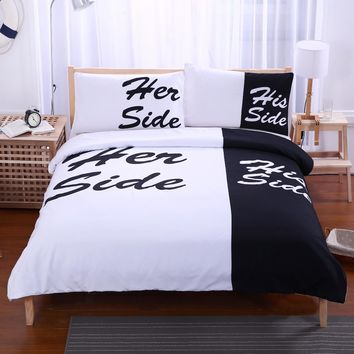 His and Her Side Duvet Cover and Pillowcases