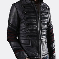 Handmade Men Black military Leather Jacket, men Stylish military biker leather jacket, Men military leather jacket