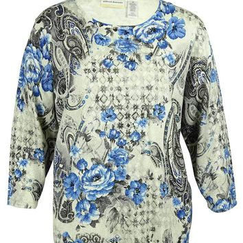 Alfred Dunner Women's Paisley-Floral Print Sweater