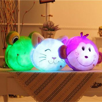 1 PC Glowing Luminous Led Light up Toys Monkey Frog Cat Stuffed Plush Toy Doll Cushion Pillow Birthday Gift