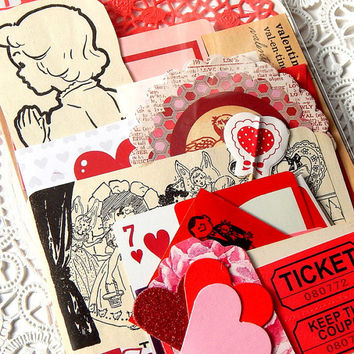 Valentine Ephemera Pack. 44 Pieces. Vintage Valentine Cards. Valentine's Day. Red Stationery. Pink Paper. Scrapbook Supply. Journal Kit.
