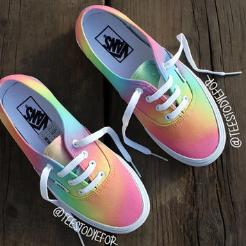 b00af634f15 Custom Hand Painted Pastel Tribal Vans from B Street Shoes