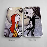 Jack And Sally Nightmare Before Christmas Couples Phone Case iPhone 4/4S, 5/5S, 5C Series, iPhone 6, 6plus - Hard Plastic, Rubber Case