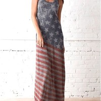 Alternative Apparel – Americana Raceback Maxi Dress In American Flag Print | Thirteen Vintage