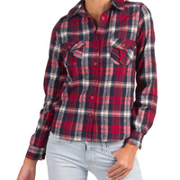 Shoulder Tab Button Up Plaid Shirt - Red