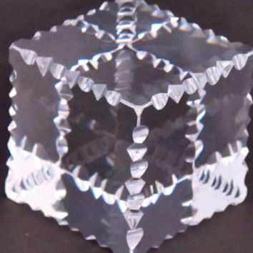 Hand Cut Glass paperweight, notched and prism, optical crystal clear