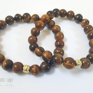 Mens Beaded Bracelet, Men Brown Bracelet, Gemstone Beads,Jasper Beaded Bracelet,Handmade Custom Beaded Jewelry
