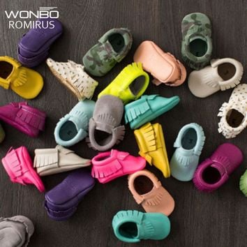 Free Shipping Tassels 26-Color PU Leather Baby Shoes Baby Moccasins Newborn Shoes Soft