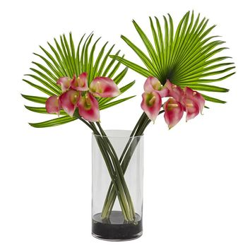 Silk Flowers -Pink Calla Lily And Fan Palm Arrangement In Cylinder Glass