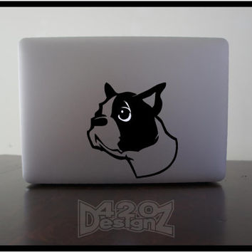 Boston Terrier - Macbook Air, Macbook Pro, Macbook decals, sticker ,Vinyl Mac decals ,Apple Mac Decal, Laptop, iPad