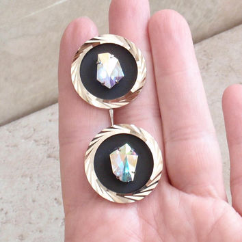 Round Cufflinks Faux Opal Glass Aurora Borealis Large Unusual Vintage V0953L