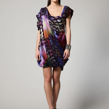 Block Print Devore Twisted Cowl Dress | Gilt Groupe