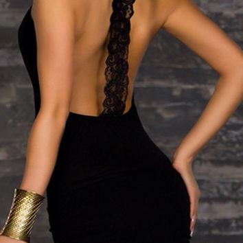 Black Lace Back Bodycon Dress