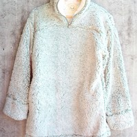 two tone sherpa pullover 2.0 - sage