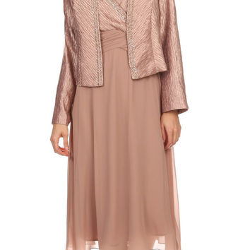 Tan Knee Length V-Neck Chiffon Dress with Bolero Jacket