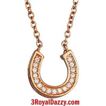 New 14k Rose Gold layer on Sterling Silver CZ Crystal Horseshoe Pendant Necklace