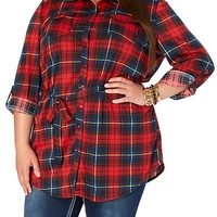 Plaid Knit Tunic Top