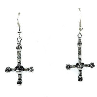 Silver Inverted Cross Skull Gothic Earrings Cosplay