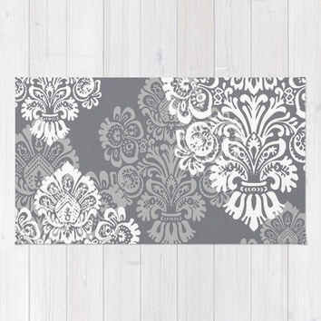 Floor Rug, Gray and White Nursery Decor, Girls Room Decor, Damask, Bohemian Rug, Baby Girl Nursery Rug, Girl College Dorm Boho Decor