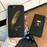 Phone Cases for IPhone 6 6s 7 Plus Gold Feather Black Frosted