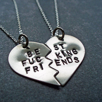 BFF Split Heart Necklaces - Best Friends Forever, Best Fucking Friends