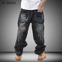 Brand Men Baggy Jeans Denim Loose Washing Jeans Men Hip Hop biker jeans Long Skateboard Relaxed Fit Jeans Mens Harem Pants Black