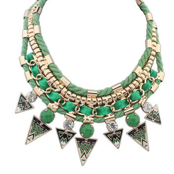 Green Triangle Shape Pendant Necklace