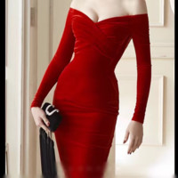 Autumn sexy deep V strapless Slim package hip velvet dress