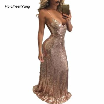 Black Gold Sexy Deep V Neck Backless Party Sequin Dress Evening Women Dresses Hot Nightclub Maxi Floor Length Dress
