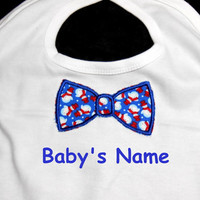 Bow Tie Bib, Christmas Bib, Baby Boy Bib, Red or Blue, Baby Bib, Toddler Bib, Baby Shower Gift,  Personalized Bib, Soft Bib, Snowman Bib