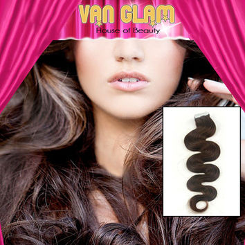 Extra Volume, Tape In Hair Extensions, Wavy, Chocolate Brown, 22""