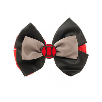 Marvel's Black Widow Symbol Silk Bow Tie or Hair Bow With 2 Clips New Licensed