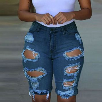 New Fashion Women Ripped Holes